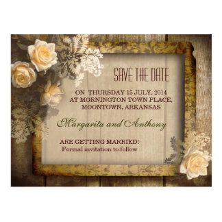vintage rustic save the date post cards