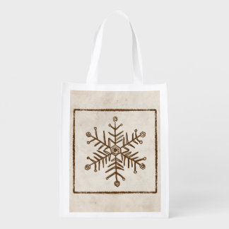 Vintage Rustic Snowflake Reusable Grocery Bag