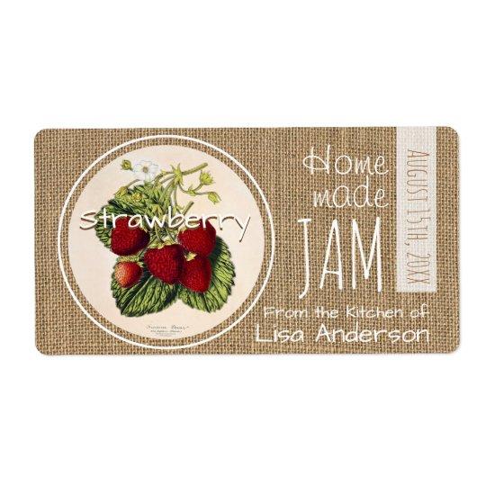 Vintage Rustic Strawberry Jam personalised H Label