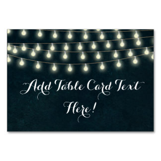 Vintage Rustic String Lights Wedding Name Place Table Cards