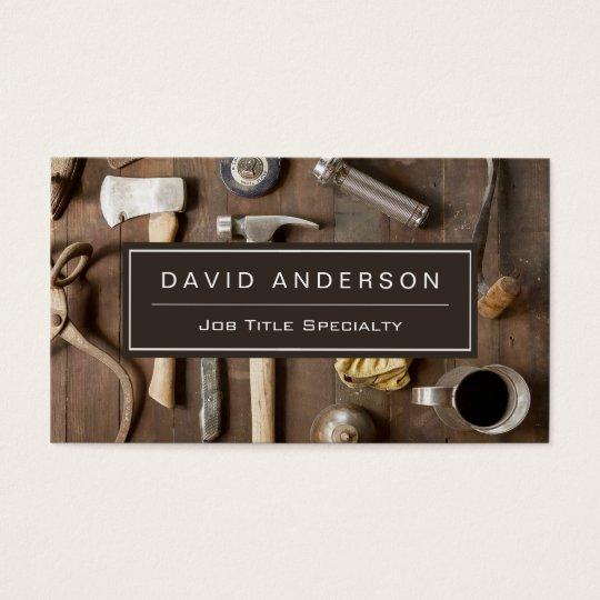 Vintage Rustic Tools Carpenter Handyman Woodworker Business Card