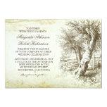 vintage rustic tree old paper wedding invitations