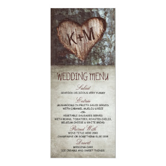 Vintage rustic tree wedding menu cards