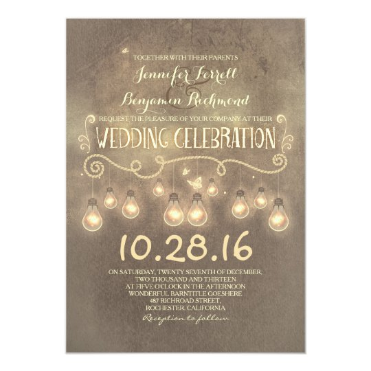 Vintage rustic wedding invitation with lights