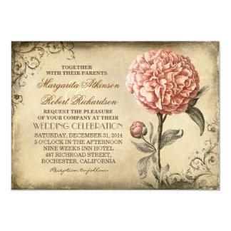 vintage rustic wedding invitation with pink peony