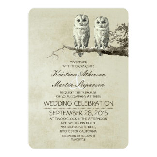 Vintage rustic wedding invitations with OWL couple