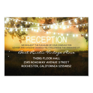 vintage rustic wedding reception card with lights personalized invites