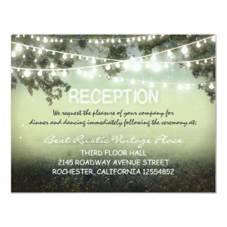 vintage rustic wedding reception cards with lights personalized invite
