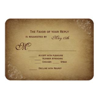 Vintage Rustic Wedding RSVP Cards Rounded Corners