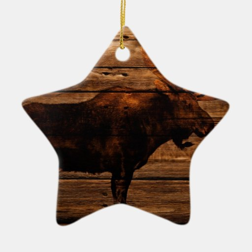Vintage rustic western country woodgrain moose double for Vintage rustic christmas decorations