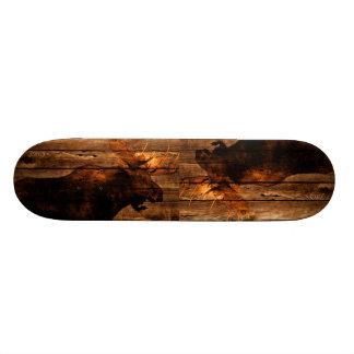 vintage rustic WESTERN country woodgrain MOOSE Skate Board
