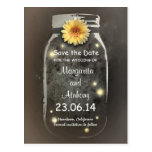 Vintage Rustic Whimsical Mason Jar Save the Date Postcard