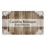 Vintage Rustic Wooden Lace Custom Business Cards