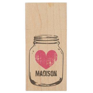 Vintage rustic wooden mason jar USB drive stick