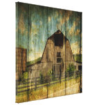 Vintage rustic woodgrain country barn stretched canvas print