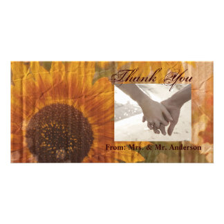 vintage rustic yellow sunflowers country thank you personalised photo card