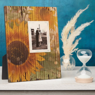 vintage rustic yellow sunflowers country wedding display plaques
