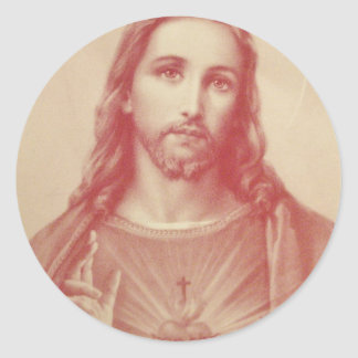 Vintage Sacred Heart of Jesus Classic Round Sticker
