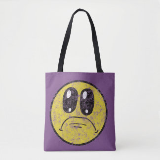 Vintage Sad Smiley Face  All Over Print Tote Bag