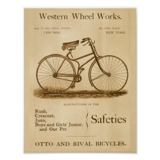 Vintage Safety Bicycles Ad Art Poster