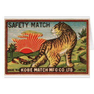 Vintage Safety Match Label - Tiger Card