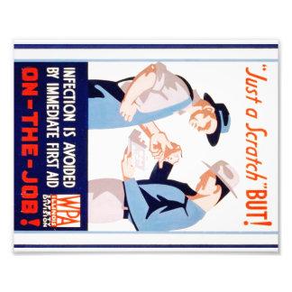 Vintage Safety On the Job WPA Poster Illinois Photo Print