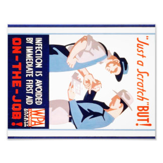 Vintage Safety On the Job WPA Poster Illinois Photographic Print