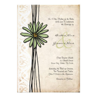 Vintage Sage Daisy Wedding Invitation