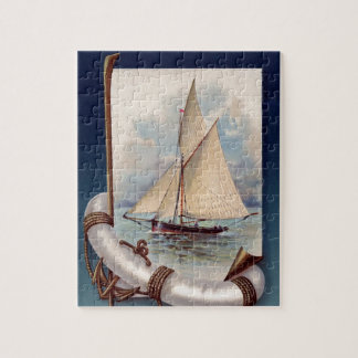 Vintage sail boat with life saver, rope and anchor jigsaw puzzle