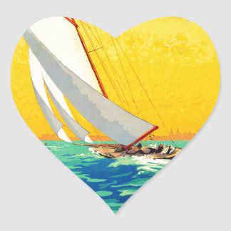 Vintage Sail Boats French Travel Heart Sticker