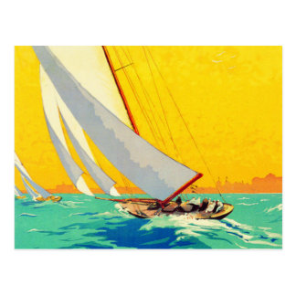 Vintage Sail Boats French Travel Postcard