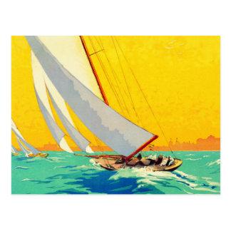 Vintage Sail Boats French Travel Postcard