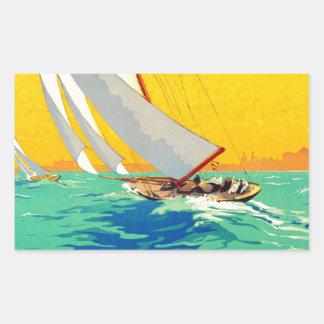 Vintage Sail Boats French Travel Rectangular Sticker
