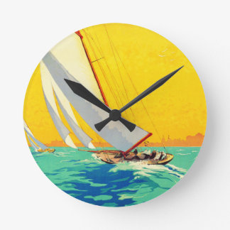 Vintage Sail Boats French Travel Round Clock