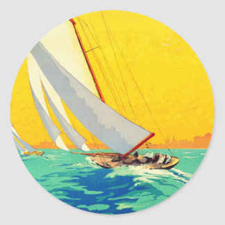 Vintage Sail Boats French Travel Round Sticker