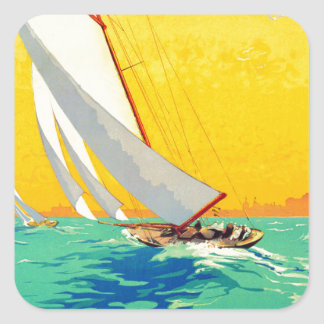 Vintage Sail Boats French Travel Square Stickers