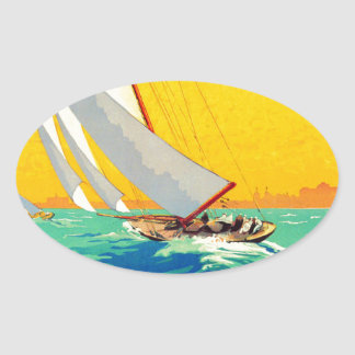 Vintage Sail Boats French Travel Oval Sticker
