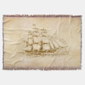 Vintage Sail Ship Throw Blanket