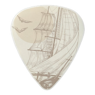 Vintage sailboat acetal guitar pick