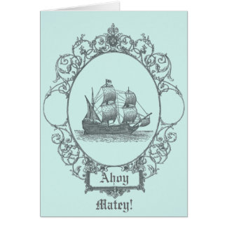 vintage sailboat Boy Pirate Birthday Party Greeting Card
