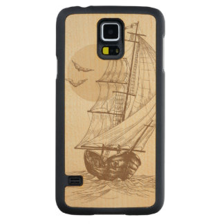 Vintage sailboat carved maple galaxy s5 case