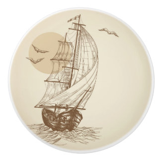 Vintage sailboat ceramic knob