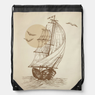 Vintage sailboat drawstring bag