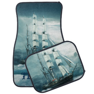 Vintage Sailboat on a Stormy Ocean Personalized Floor Mat
