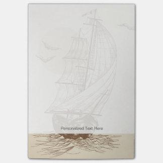Vintage sailboat post-it notes