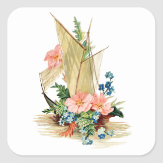 Vintage Sailboat with Flowers Square Sticker