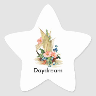 Vintage Sailboat with Flowers Star Sticker