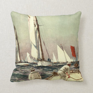 Vintage Sailboats Men Sailing Antique Willy Stower Cushion