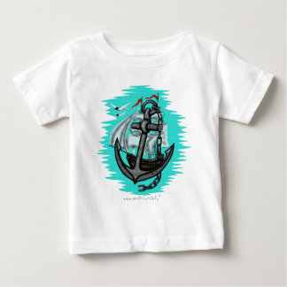 Vintage sailing ship and anchor baby t-shirt