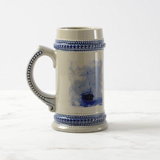 Vintage Sailing Ship Ceramic Tankard Coffee Mugs